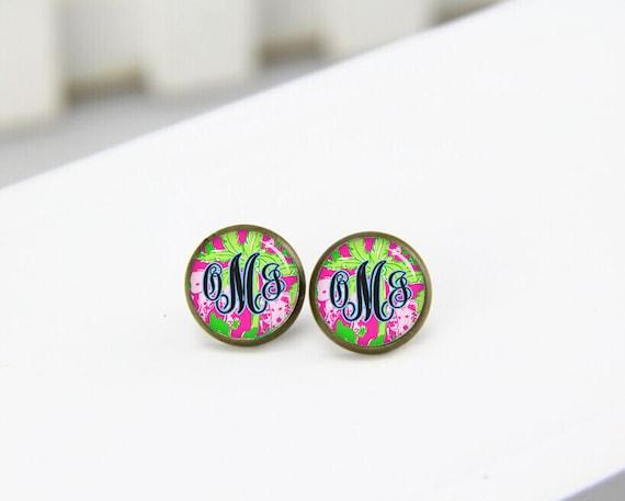 Monogram Earrings, Custom Fonts Earrings, Personalized Initial Earrings,  Monogram Stud Earrings, Charm Drop Earrings, Dangle Earrings