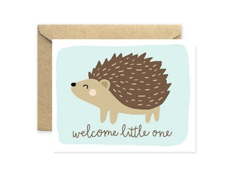 New Baby Card, Welcome Little One Hedgehog In Blue
