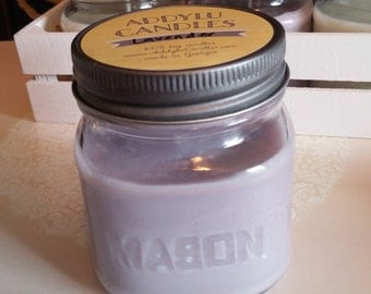 Lavender Candle 8oz mason jar soy candle / light purple candle / relaxing aromatherapy candle handmade gift for her / lavender soy candle