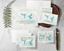 Vintage Blue Bird Wedding Invitation Set/Suite, Printed/Printable Wedding Invitations/Invites, Save the date, Thank You Cards, Digital/PDF