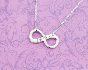 Engraved Infinity Necklace with Stainless Steel Chain - Engraved Jewelry - Wedding Date - Anniversary - To Infinity and Beyond