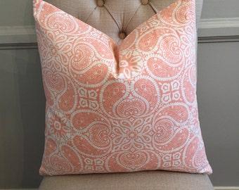 Handmade Decorative Pillow Cover - Magnolia Homes Tibi Flamingo - Peach - Pink - Geometric