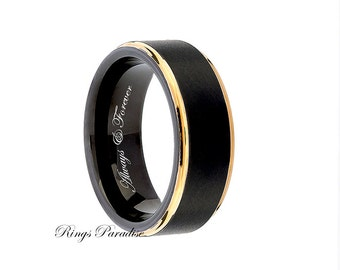 Wedding Bands, New Style Tungsten Wedding Band, Men's Ring, Engagement Ring, Tungsten Carbide, His Promise Ring, Yellow Gold Beveled Edges