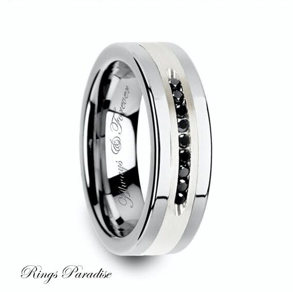 Tungsten Black Diamonds Ring Mens Wedding Band Tungsten