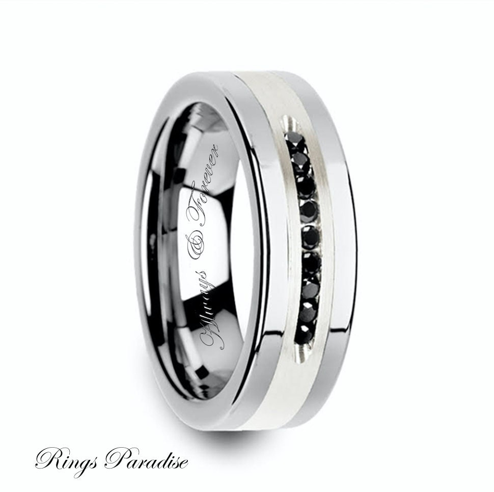tungsten black diamonds ring mens wedding band tungsten. Black Bedroom Furniture Sets. Home Design Ideas