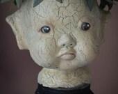 "OOAK Art doll Mixed Media Assemblage sculpture by Deborah Bowe ""Elf on a Jar"" DCBARTSTUDIO"