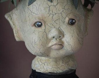 "OOAK Art doll Mixed Media Assemblage sculpture by Deborah Bowe ""Elf on a Jar"""