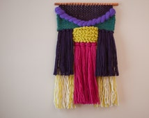 Small Weaving in bright colors | Handwoven wall hanging | violet teal magenta chartreuse
