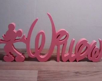 DISNEY STYLE wooden free standing name plaques with mickey mouse motif/word art/wooden letters