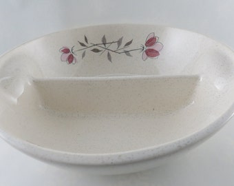 Franciscan Duet Divided Serving Dish - Gladding McBean Round Off White Pink and Grey Serving Bowl