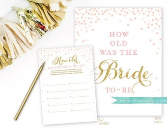 Pink and Gold Bridal Shower Games . How Old Was the Bride to Be . Guess the Bride's Age . Bridal Shower Printable Instant Digital Download