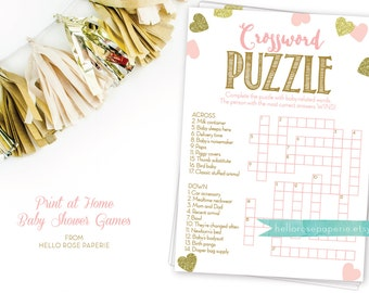 Pink and Gold Baby Shower Crossword Puzzle Game . Printable Instant Digital Download . Baby Shower Games Girl . Glitter Hearts Confetti