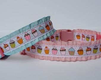 Double Ruffle Cupcake Dog Collar