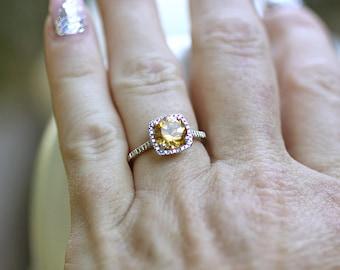 925 Sterling Genuine Citrine & Halo Diamond Gemstone Engagement Birthstone Ring, Custom Sizes Available