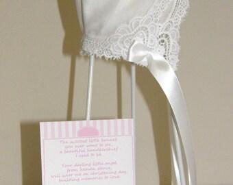 Handkerchief Hanky Bonnet 100% Cotton White Sweetheart Lace