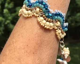 Sand and Surf Micro macrame Beaded Bracelet