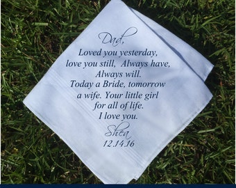 Father of the Bride Gift, Parents Weeding Gift, Father of Bride Gift, Favors Father of the Groom gift Wedding Handkerchief PRINTED (H 221)