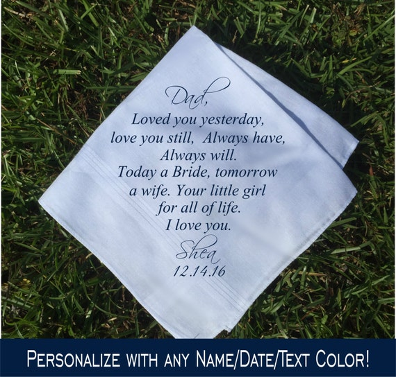 Wedding Day Gift For Father Of The Bride : Father of the Bride Gift Father of the bride handkerchief