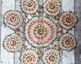 "Large Round Crochet Lace Doily 25"" D Late 1800's Era"