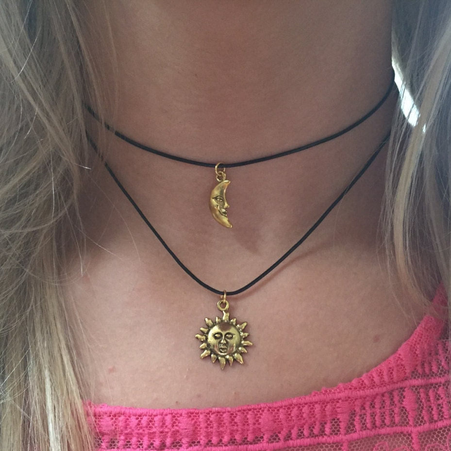 Double Choker Necklace Sun and Moon Gold Charms Choker 90s