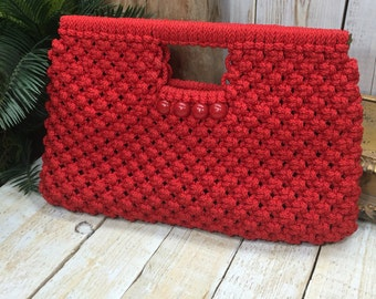 Red Tote Handbag, Red Bag, Top Handle Bag, Red Handbag, Macrame Handbag, Red Purse Large Tote Handbags, Oversized Clutch, Christmas Purses
