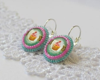 Pink Green Cupcakes Muffin Earrings, Dangle Cupcake Earrings, Beaded Food Dessert Baking, Sweets Pink Green Gift Ideas Food Jewelry Cupcake