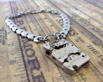 Steampunk Bracelet, Elgin Watch, Watch Band Bracelet, Elgin Watch Movement, Watch Part Bracelet, Steampunk Gear Bracelet, Silver Bracelet