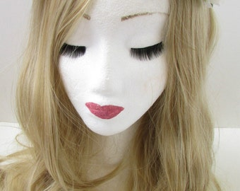 White Rose Flower Headband Garland Small Vintage Hair Crown Bridesmaid Boho Y15