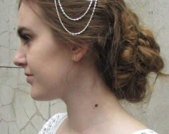 Silver Art Deco Chain Hair Comb Vintage Flapper 1920s Bridal Great Gatsby Y56