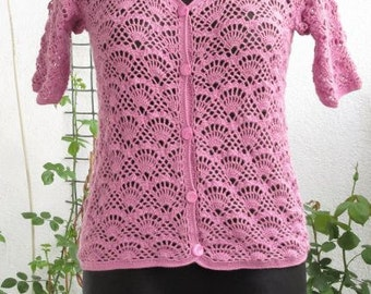 Crochet Blouse Crocheted Blouse Pink Lavender  Blouse Summer Blouse Lace Blouse