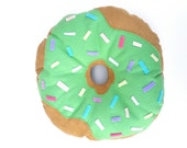 Green Donut Pillow Plush - Handmade custom cushion - SALE