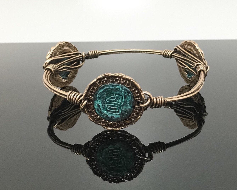 Vintage Coin Charm Wire Antique Gold Bangle Bracelet Antique