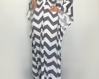 Kaftan Maxi Plus Size Dresses Long Dress Baby Shower Wedding Party Dress White Gray Chevron