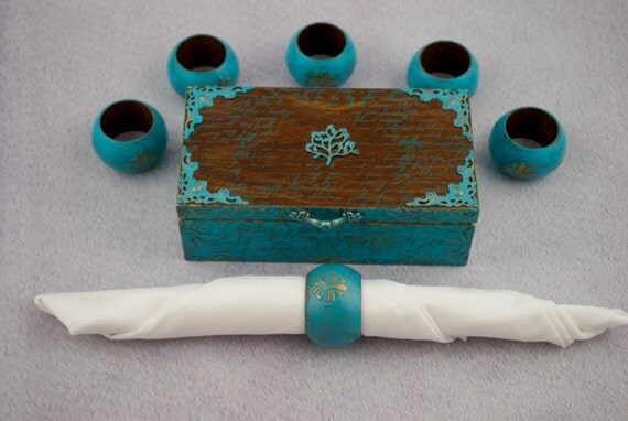 Wooden Napkin Rings Dining Room Table Decor Blue Kitchen Decor