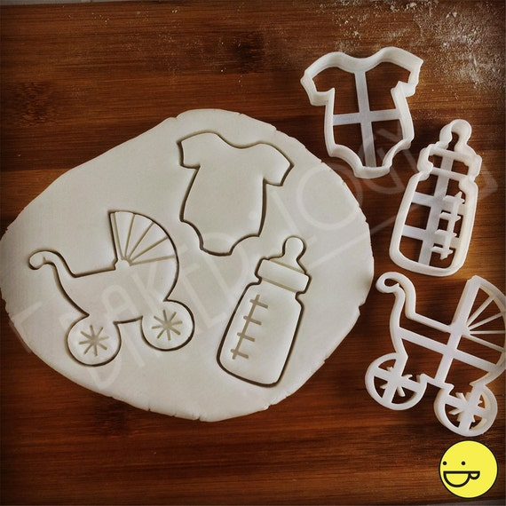 baby shower cookie cutter 3 items to choose from pram milk bottle