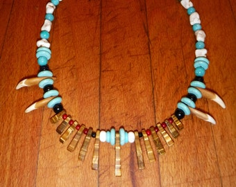 """Wolf Tooth Necklace 19"""" Wolf Necklace Real Wolf Tooth Necklace African Native American Wolf Tooth Tribal Necklace wolf teeth jewelry"""