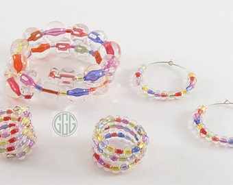 Memory Wire Bangle Bracelet - Clearly Colorful Acrylic Beads (B059)