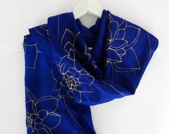 Lotus flower,Handpainted Blue silk scarf,Water lily silk scarf,Floral silk scarf blue,Gold blue scarf,Unique silk scarf,floral silk scarves