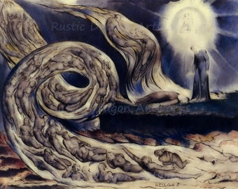 "William Blake ""The Lovers Whirlwind Francesca da Rimini and Paolo Malatesta"" 1827 Reproduction Digital Print Religion Christianity Souls"