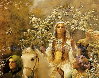 "John Collier ""Queen Guinevere's Maying"" 1900 Guinevere Flowers Reproduction Digital Print Vintage Print Wall Hanging"