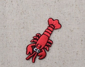 Red Lobster - Crawfish - Iron on Applique - Embroidered Patch - WA106