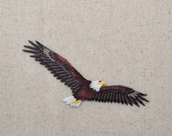 American Bald Eagle - Soaring - Bird - Iron on Applique - Embroidered Patch - 157462A