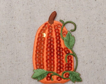 Large - Sequin Pumpkin with Vines - Fall Harvest - Iron on Applique - Embroidered Patch - 1129061A
