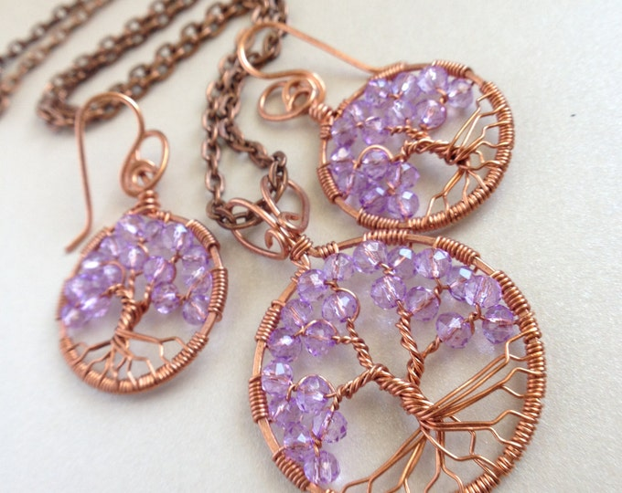 Festival Jewelry Set Amethyst Tree-Of-Life Earring Copper Boho Earring Amethyst Jewelry February Birthstone Pisces Talisman Hippie Jewelry