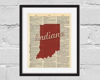 Indiana Hoosiers Print. Dictionary Art Print. Indiana University.