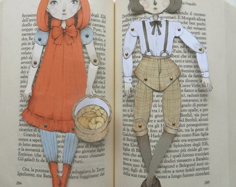 Red Riding Hood and Bad Wolf Articulated Paper Dolls - Brads Included, Illustration, Digital Print, Gift Ideas, DIY, Fairy Tales