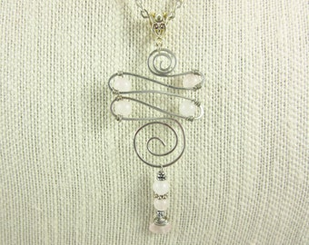 Rose Quartz Wire Wrapped Pendant Necklace Handmade Custom Length Silver Plated Pendant Necklace