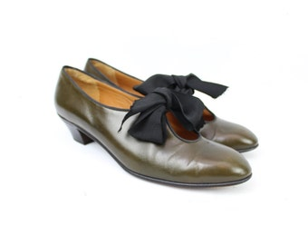 Vintage 90's Forest Green Oxford Heels / 1990's Leather Shoes / Fall / Perry Ellis / Women's US Size 6.5N