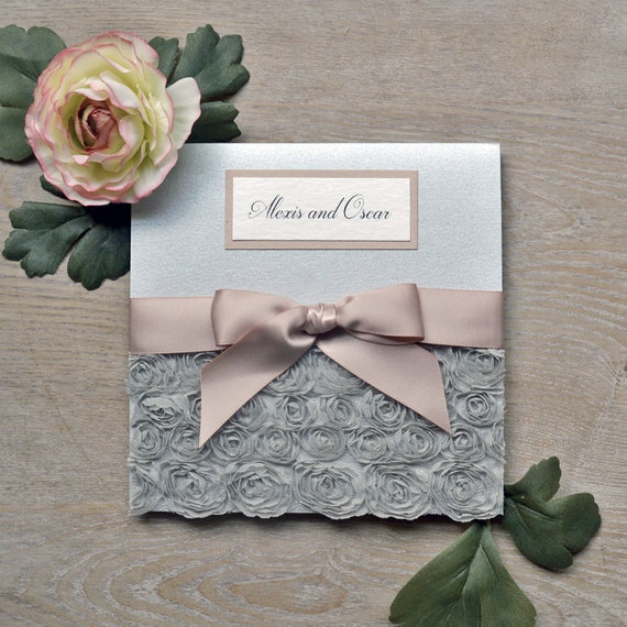 ALEXIS - Silver Rosette Wedding Invitation - Square Folding Pocket Invite with Silver Rosettes and Antique Pink Ribbon and Accents