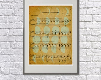 The Moonlight Sonata - Art Gift for the Classical Music Lover - Beethoven, Piano Sonata no:14